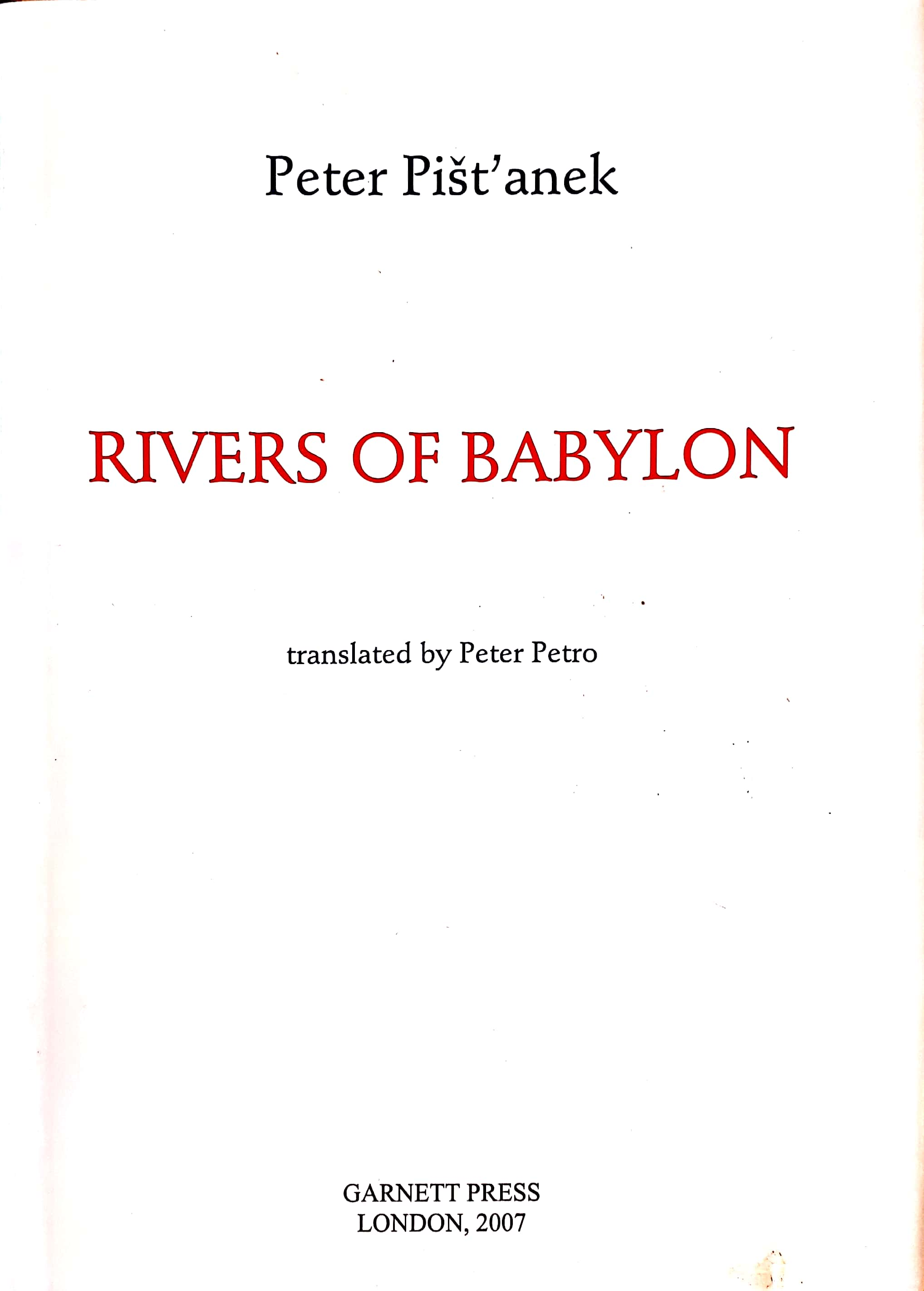 front cover of Peter Pistanek – Rivers of Babylon